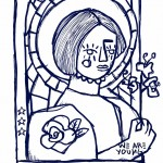 Window Woman: Typical image of an old church which contracts with the new generation.